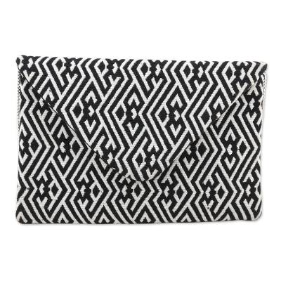 Black and White Cotton Convertible Clutch/Shoulder Bag