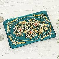 Cotton coin purse, 'Star Bouquet' - Azure Blue Cotton and Velvet Zardozi Coin Purse