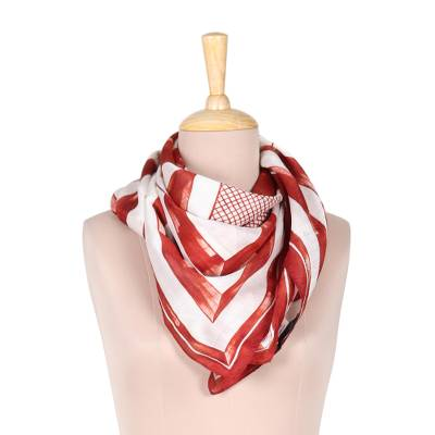 Silk scarf, 'Triangle Symphony in Russet' - Hand-Painted Russet and White Geometric Triangle Silk Scarf