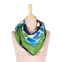 Silk scarf, 'Mosaic Dream' - Hand-Painted Multi-Colored Mosaic Dream Silk Wrap Scarf