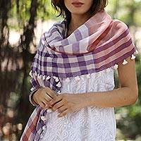Cotton shawl, 'Gamocha Elegance' - Handwoven Cotton Shawl with Tassels from India
