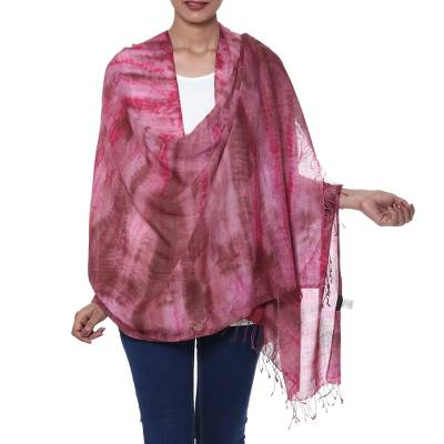 Tie-dyed cotton shawl, 'Ruby Tides' - Handmade Tie-Dyed Ruby Red Cotton Shawl with Fringe