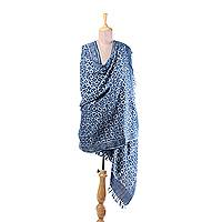 Cotton and wool blend shawl, 'Indigo Diamonds' - Cotton and Wool Blend Shawl with Printed Diamond Motifs