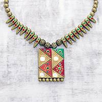 Ceramic pendant necklace, 'Geometric Saga' - Hand-Painted Geometric Saga Ceramic Pendant Necklace