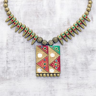 Novica Ceramic pendant necklace, Geometric Saga
