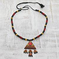 Ceramic pendant necklace, 'Dancing Pyramid' - Red, Yellow Black Triangle Pendant Beaded Cord Necklace