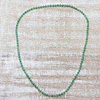 Quartz beaded necklace, 'Serenade in Green' - Sterling Silver and Green Quartz Beaded Necklace from India