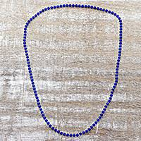 Quartz long beaded necklace, 'Serenade in Blue' - Blue Quartz and Sterling Silver Beaded Necklace from India