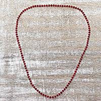 Quartz long beaded necklace, 'Serenade in Red' - Sterling Silver and Quartz Beaded Necklace in Red from India