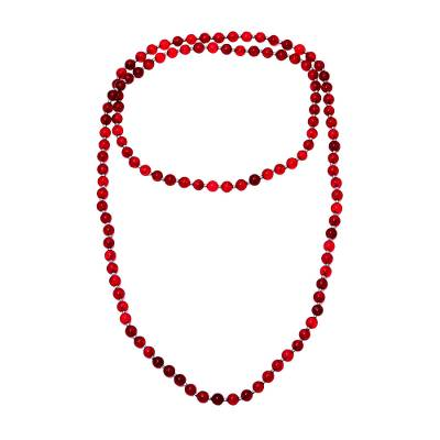 Sterling Silver and Quartz Beaded Necklace in Red from India
