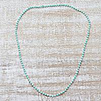 Quartz long beaded necklace, 'Serenade in Aqua' - Indian Sterling Silver and Quartz Beaded Necklace in Aqua