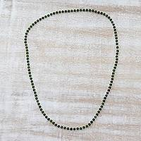 Quartz beaded necklace, 'Serenade in Dark Green' - Indian Quartz and Silver Beaded Necklace in Dark Green