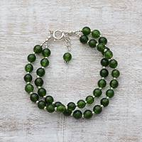Quartz beaded bracelet, 'Felicity in Dark Green' - Indian Silver and Quartz Beaded Bracelet in Dark Green
