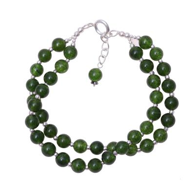 Quartz beaded bracelet, 'Felicity in Dark Green' - Indian Silver and Quartz Beaded Bracelet in Dark Green