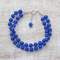 Quartz beaded bracelet, 'Felicity in Blue' - Indian Quartz and Sterling Silver Beaded Bracelet in Blue