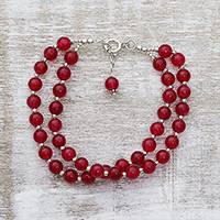 Quartz beaded bracelet, 'Felicity in Red' - Sterling Silver and Red Quartz Beaded Bracelet from India