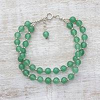 Quartz beaded bracelet, 'Felicity in Green'