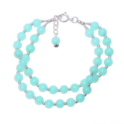 Indian Two Strand Quartz and Silver Beaded Bracelet in Aqua