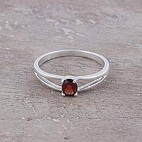 Featured review for Garnet solitaire ring, Fiery Solitaire