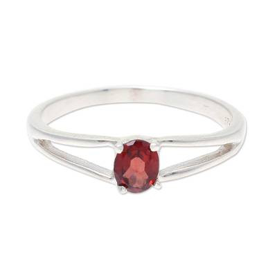 Natural Garnet Solitaire Ring from India