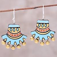 Ceramic dangle earrings, 'Bright Sky' - Hand-Painted Sky Blue and Golden Ceramic Dangle Earrings
