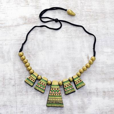 Ceramic beaded necklace, 'Tribal Hills' - Handcrafted Golden Tribal Hills Ceramic Statement Necklace