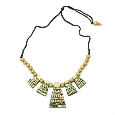 Handcrafted Golden Tribal Hills Ceramic Statement Necklace