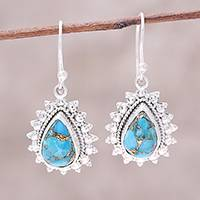 Sterling silver dangle earrings, 'Paisley Drop' - Silver 925 Teardrop Composite Turquoise Paisley Earrings