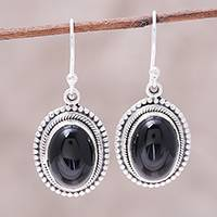 Onyx dangle earrings, 'Shadow Dream' - Black Onyx and Sterling Silver Oval Dangle Earrings
