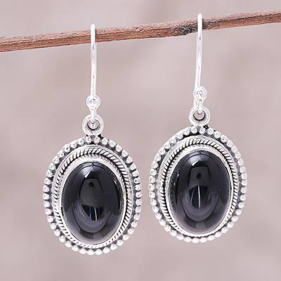 Onyx Dangle Earrings Shadow Dream Black And Sterling Silver Oval