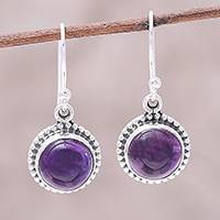 Amethyst dangle earrings, 'Violet Mist' - Sterling Silver Round Amethyst Violet Mist Dangle Earrings