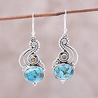 Citrine dangle earrings, 'Friendship Token' - Sterling Silver Citrine Composite Turquoise Dangle Earrings