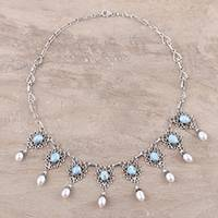 Cultured pearl and larimar waterfall necklace, 'Ocean Halo' - Sterling Silver Cultured Pearl and Larimar Necklace