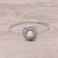 Cultured pearl bangle bracelet, 'Ocean Elegance' - Sterling Silver White Cultured Freshwater Pearl Bracelet