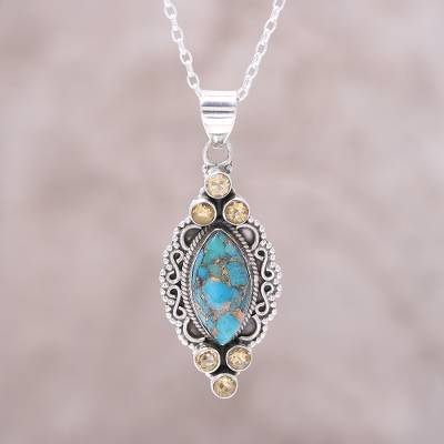 868a0a645 Citrine pendant necklace, 'Ocean in Sunlight' - Sterling Silver Citrine Composite  Turquoise Ocean