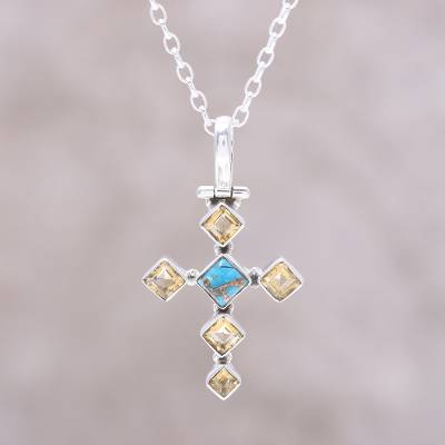 Citrine pendant necklace, 'Sunny Cross' - Citrine and Composite Turquoise Cross Pendant Necklace