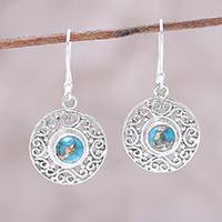 Sterling silver dangle earrings, 'Elegant Sea' - Composite Turquoise Sterling Silver Round Dangle Earrings