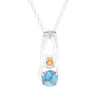 Citrine Composite Turquoise Sterling Silver Pendant Necklace
