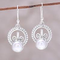 Cultured pearl dangle earrings, 'Crowned Pearl' - Cultured Freshwater Pearl Sterling Silver Dangle Earrings