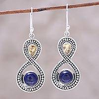 Multi-gemstone dangle earrings, 'Starlit Sky' - Citrine and Lapis Lazuli Sterling Silver Dangle Earrings