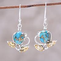Citrine dangle earrings, 'Golden Blooms' - Citrine and Composite Turquoise Flower Dangle Earrings