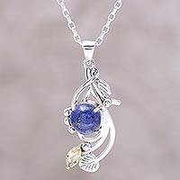 Lapis lazuli and citrine pendant necklace, 'Seaside Bloom' - Lapis Lazuli and Citrine Sterling Silver Pendant Necklace
