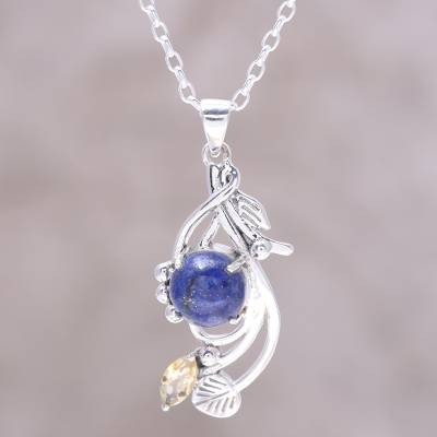 Lapis lazuli and citrine pendant necklace, Seaside Bloom