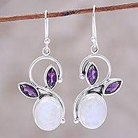 Rainbow moonstone and amethyst dangle earrings, 'Moonglow Bloom' - Rainbow Moonstone Amethyst Sterling Silver Dangle Earrings
