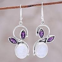 Rainbow moonstone and amethyst dangle earrings, 'Moonglow Bloom' - Rainbow Moonstone Amethyst Sterling Silver Dangle Earrings