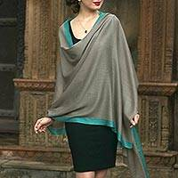 Cashmere blend shawl, 'Luxurious Grace' - Hand Woven Cashmere and Silk Blend Shawl from India