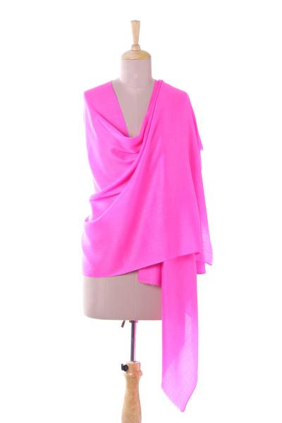 Cashmere and silk blend shawl, 'Kashmir Dreams in Hot Pink' - Hand Woven Cashmere and Silk Blend Shawl from India