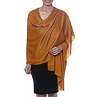 Cashmere and silk blend shawl, 'Kashmir Dreams in Copper' - Hand Woven Copper Cashmere and Silk Blend Shawl from India