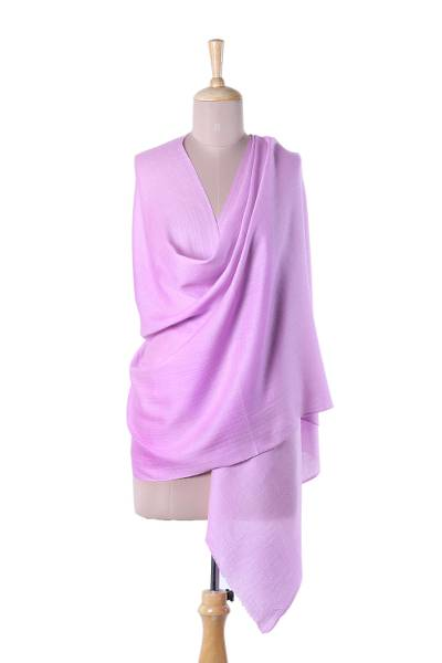 Cashmere and silk blend shawl, 'Kashmir Dreams in Carnation' - Hand Woven Pink Cashmere and Silk Blend Shawl from India