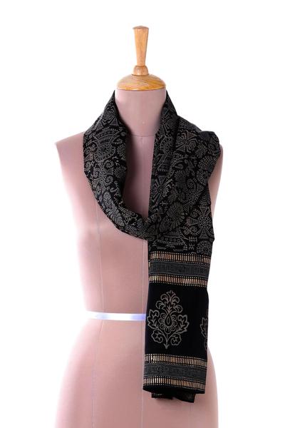Silk scarf, 'Tribal Celebration' - Black and Beige Hand Block Print Singing Tribal Silk Shawl